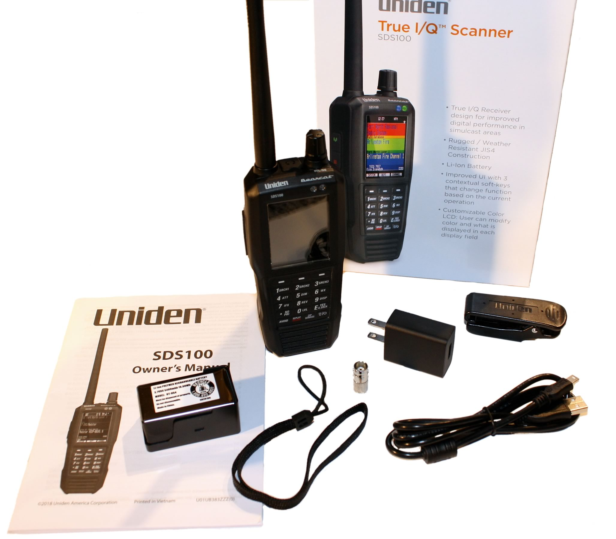 Uniden SDS100 Handheld Radio Scanner Featuring True IQ Software Defined  Radio Receiver for Clear Simulcast Performance, Rugged Weather Resistant
